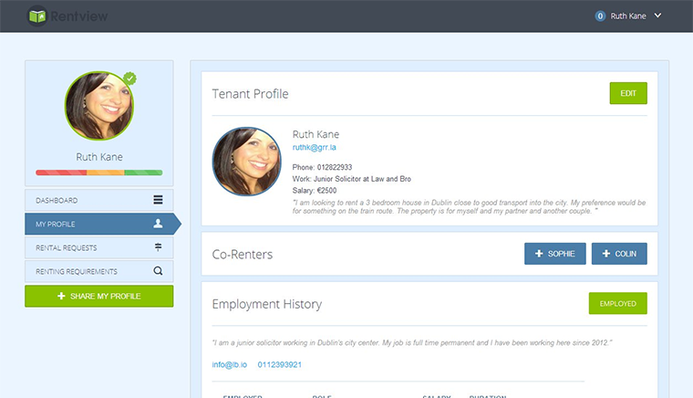 Create Profile Screenshot